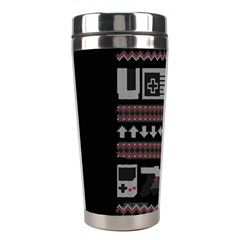 Old School Ugly Holiday Christmas Black Background Stainless Steel Travel Tumblers