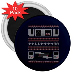 Old School Ugly Holiday Christmas Blue Background 3  Magnets (10 Pack)