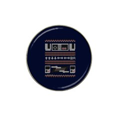 Old School Ugly Holiday Christmas Blue Background Hat Clip Ball Marker (4 Pack)