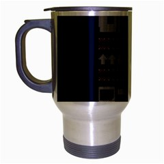 Old School Ugly Holiday Christmas Blue Background Travel Mug (silver Gray)