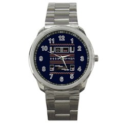 Old School Ugly Holiday Christmas Blue Background Sport Metal Watch