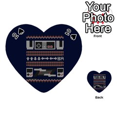 Old School Ugly Holiday Christmas Blue Background Playing Cards 54 (heart)