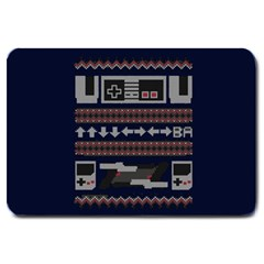 Old School Ugly Holiday Christmas Blue Background Large Doormat