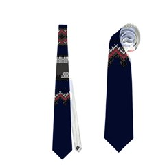 Old School Ugly Holiday Christmas Blue Background Neckties (Two Side)