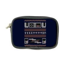 Old School Ugly Holiday Christmas Blue Background Coin Purse
