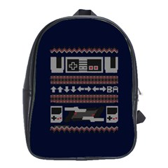 Old School Ugly Holiday Christmas Blue Background School Bags(large)