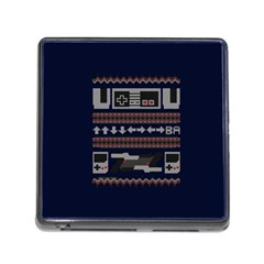 Old School Ugly Holiday Christmas Blue Background Memory Card Reader (square)