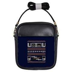 Old School Ugly Holiday Christmas Blue Background Girls Sling Bags