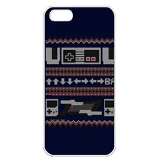 Old School Ugly Holiday Christmas Blue Background Apple Iphone 5 Seamless Case (white)