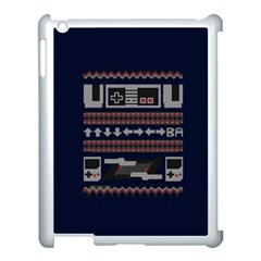 Old School Ugly Holiday Christmas Blue Background Apple Ipad 3/4 Case (white)