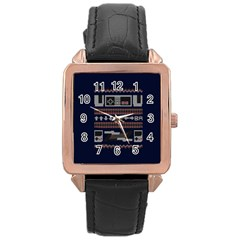 Old School Ugly Holiday Christmas Blue Background Rose Gold Leather Watch