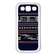 Old School Ugly Holiday Christmas Blue Background Samsung Galaxy S3 Back Case (white)