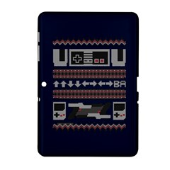 Old School Ugly Holiday Christmas Blue Background Samsung Galaxy Tab 2 (10 1 ) P5100 Hardshell Case
