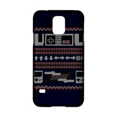 Old School Ugly Holiday Christmas Blue Background Samsung Galaxy S5 Hardshell Case