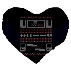 Old School Ugly Holiday Christmas Blue Background Large 19  Premium Flano Heart Shape Cushions