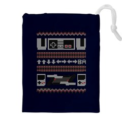 Old School Ugly Holiday Christmas Blue Background Drawstring Pouches (xxl)