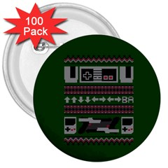 Old School Ugly Holiday Christmas Green Background 3  Buttons (100 Pack)