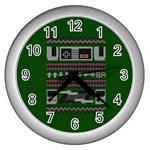 Old School Ugly Holiday Christmas Green Background Wall Clocks (Silver)  Front