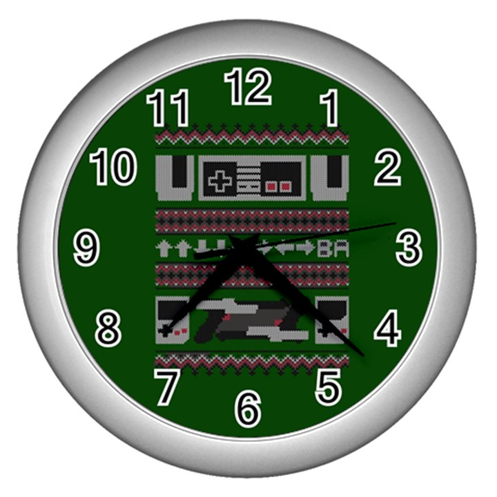 Old School Ugly Holiday Christmas Green Background Wall Clocks (Silver)