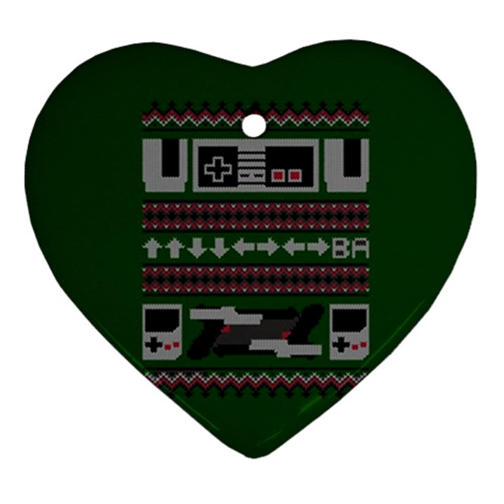 Old School Ugly Holiday Christmas Green Background Heart Ornament (2 Sides)