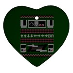 Old School Ugly Holiday Christmas Green Background Heart Ornament (2 Sides) Back