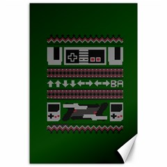 Old School Ugly Holiday Christmas Green Background Canvas 24  X 36