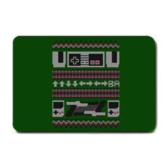 Old School Ugly Holiday Christmas Green Background Small Doormat