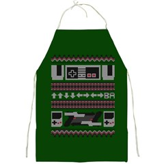 Old School Ugly Holiday Christmas Green Background Full Print Aprons
