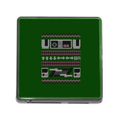 Old School Ugly Holiday Christmas Green Background Memory Card Reader (square)