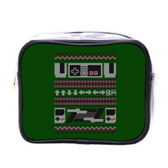 Old School Ugly Holiday Christmas Green Background Mini Toiletries Bags