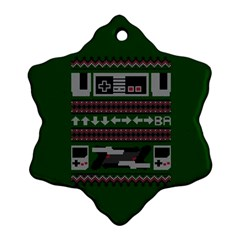 Old School Ugly Holiday Christmas Green Background Snowflake Ornament (2 Side)