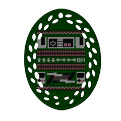 Old School Ugly Holiday Christmas Green Background Oval Filigree Ornament (2 Side)