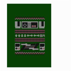 Old School Ugly Holiday Christmas Green Background Small Garden Flag (two Sides)