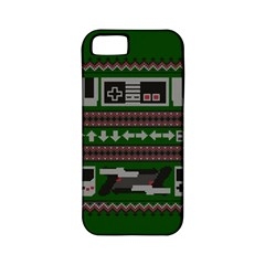 Old School Ugly Holiday Christmas Green Background Apple Iphone 5 Classic Hardshell Case (pc+silicone)