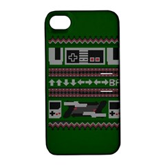 Old School Ugly Holiday Christmas Green Background Apple Iphone 4/4s Hardshell Case With Stand