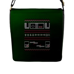 Old School Ugly Holiday Christmas Green Background Flap Messenger Bag (l)