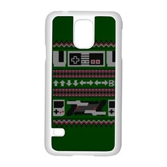 Old School Ugly Holiday Christmas Green Background Samsung Galaxy S5 Case (white)