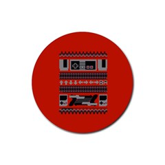 Old School Ugly Holiday Christmas Red Background Rubber Coaster (round)