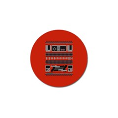 Old School Ugly Holiday Christmas Red Background Golf Ball Marker