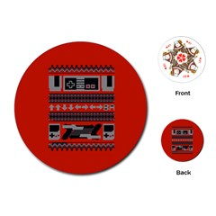 Old School Ugly Holiday Christmas Red Background Playing Cards (round)