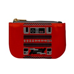 Old School Ugly Holiday Christmas Red Background Mini Coin Purses