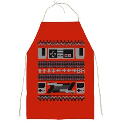 Old School Ugly Holiday Christmas Red Background Full Print Aprons