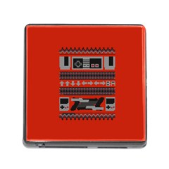 Old School Ugly Holiday Christmas Red Background Memory Card Reader (square)