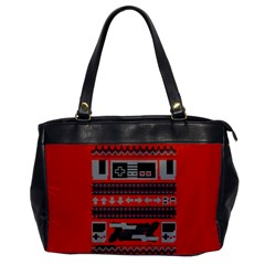 Old School Ugly Holiday Christmas Red Background Office Handbags