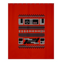 Old School Ugly Holiday Christmas Red Background Shower Curtain 60  X 72  (medium)