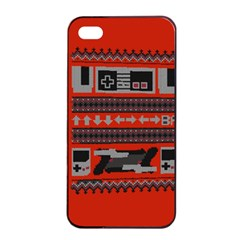 Old School Ugly Holiday Christmas Red Background Apple Iphone 4/4s Seamless Case (black)
