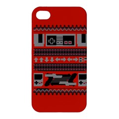Old School Ugly Holiday Christmas Red Background Apple Iphone 4/4s Premium Hardshell Case