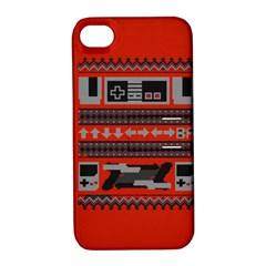 Old School Ugly Holiday Christmas Red Background Apple Iphone 4/4s Hardshell Case With Stand