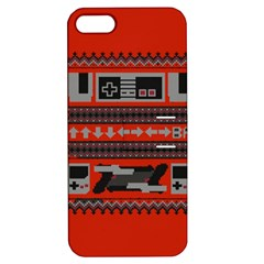 Old School Ugly Holiday Christmas Red Background Apple Iphone 5 Hardshell Case With Stand