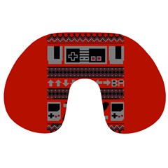 Old School Ugly Holiday Christmas Red Background Travel Neck Pillows
